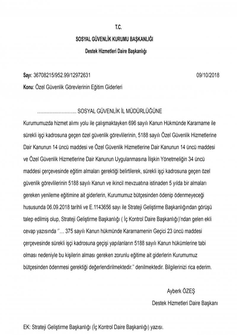 SGK: Özel Güvenliklerin Kurs Ücretlerini Kurum Ödeyecek!