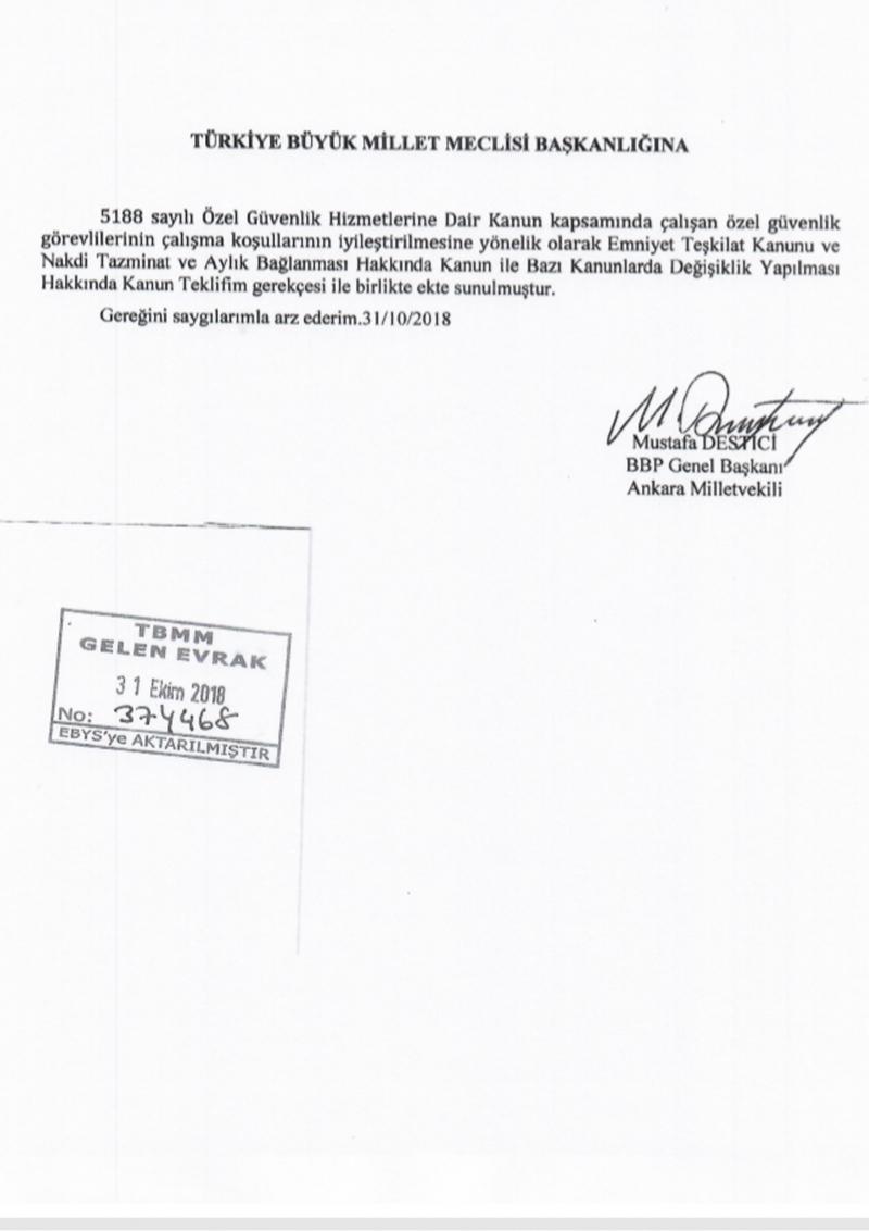 BBP Genel Başkanı Destici'den özel güvenlik görevlileri için kanun teklifi