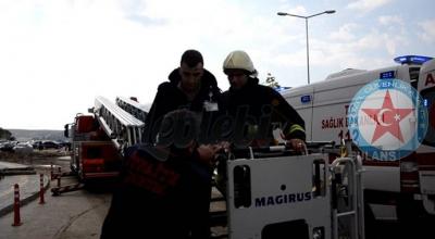 Alevler Arasında Mahsur Kalan Güvenlik Görevlisini İtfaiye Ekipleri Kurtardı