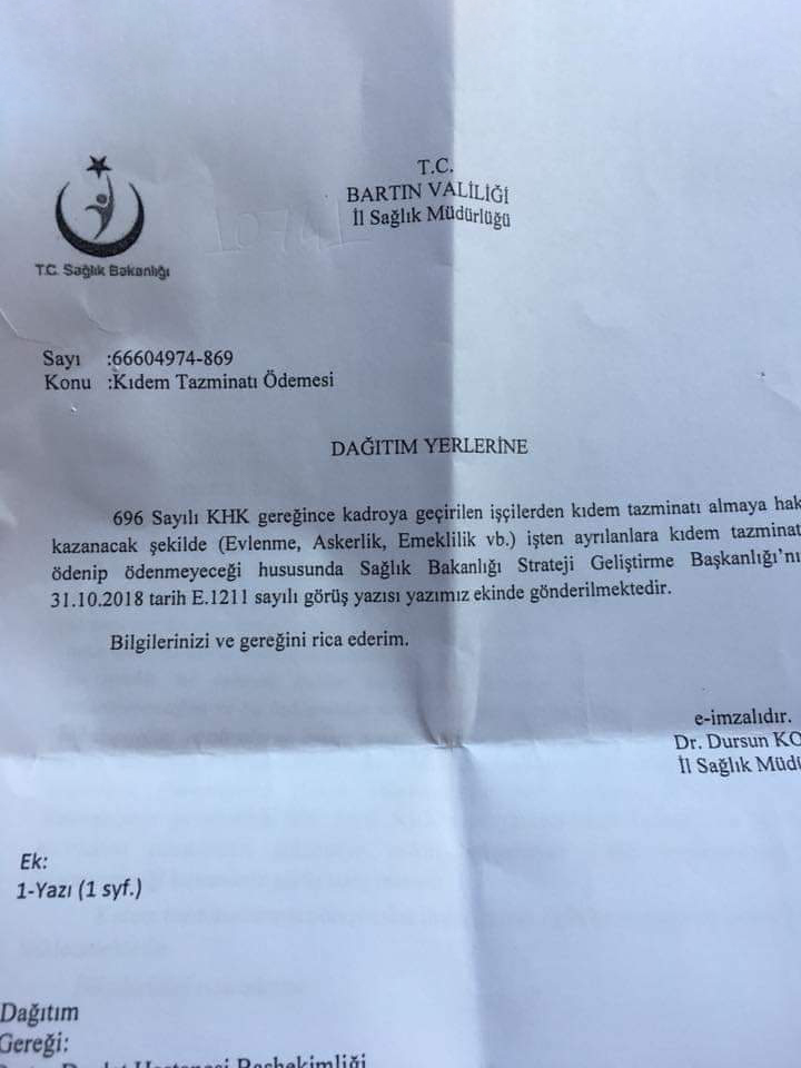 """Sağlık Bakanlığı """"Taşerondan Kadroya Geçen İşçilere Kıdem Tazminatı Ödemesi Yapılmayacak"""" Dedi"""