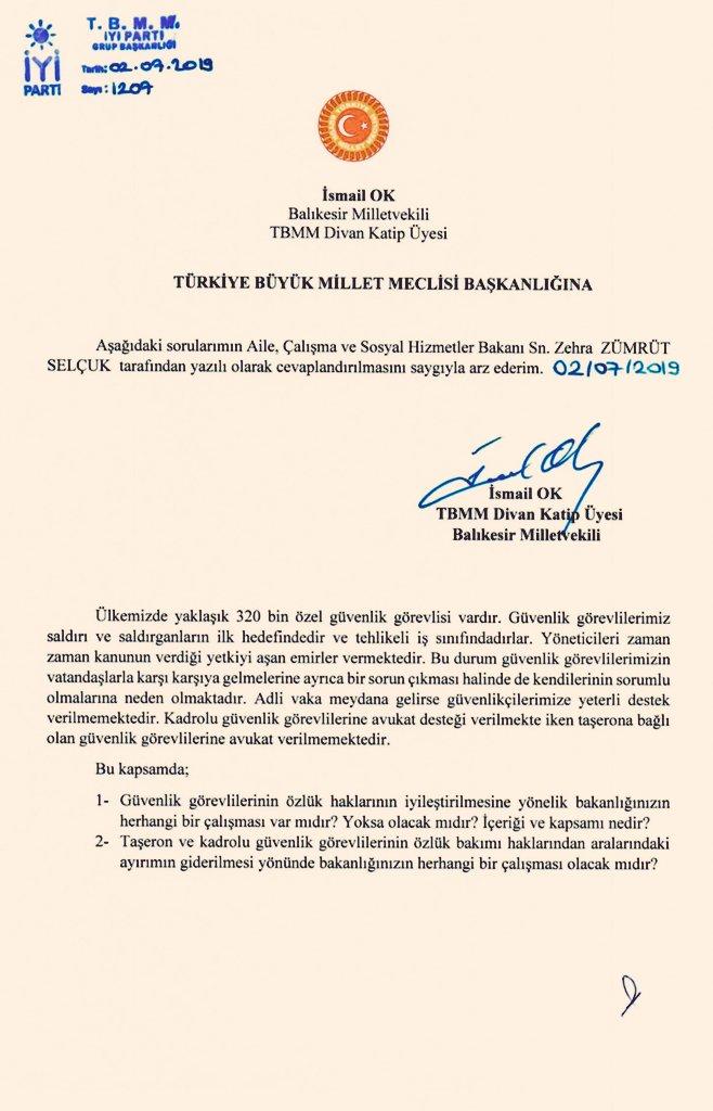 İyi Parti Balıkesir Milletvekili İsmail Ok AÇSHB Selçuk'a Özel Güvenliklerin Özlük Haklarını Sordu