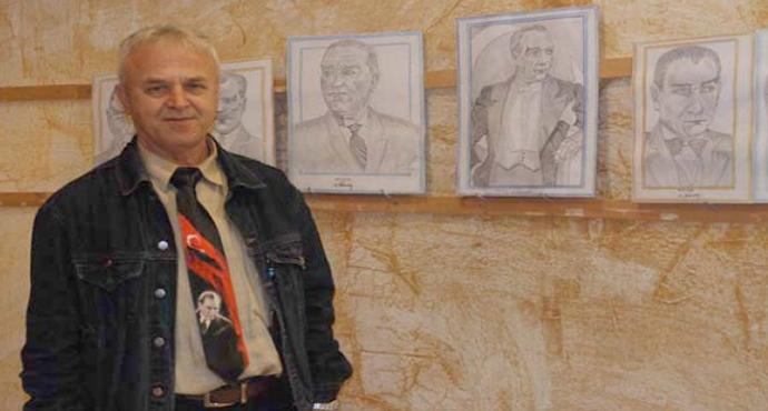 """Güvenlik Görevlisinden """"Atatürk"""" Konulu Resim Sergisi"""