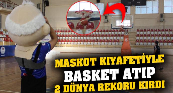 Özel Güvenlik Görevlisi Maskot Kıyafetiyle Basket Atıp 2 Dünya Rekoru Kırdı