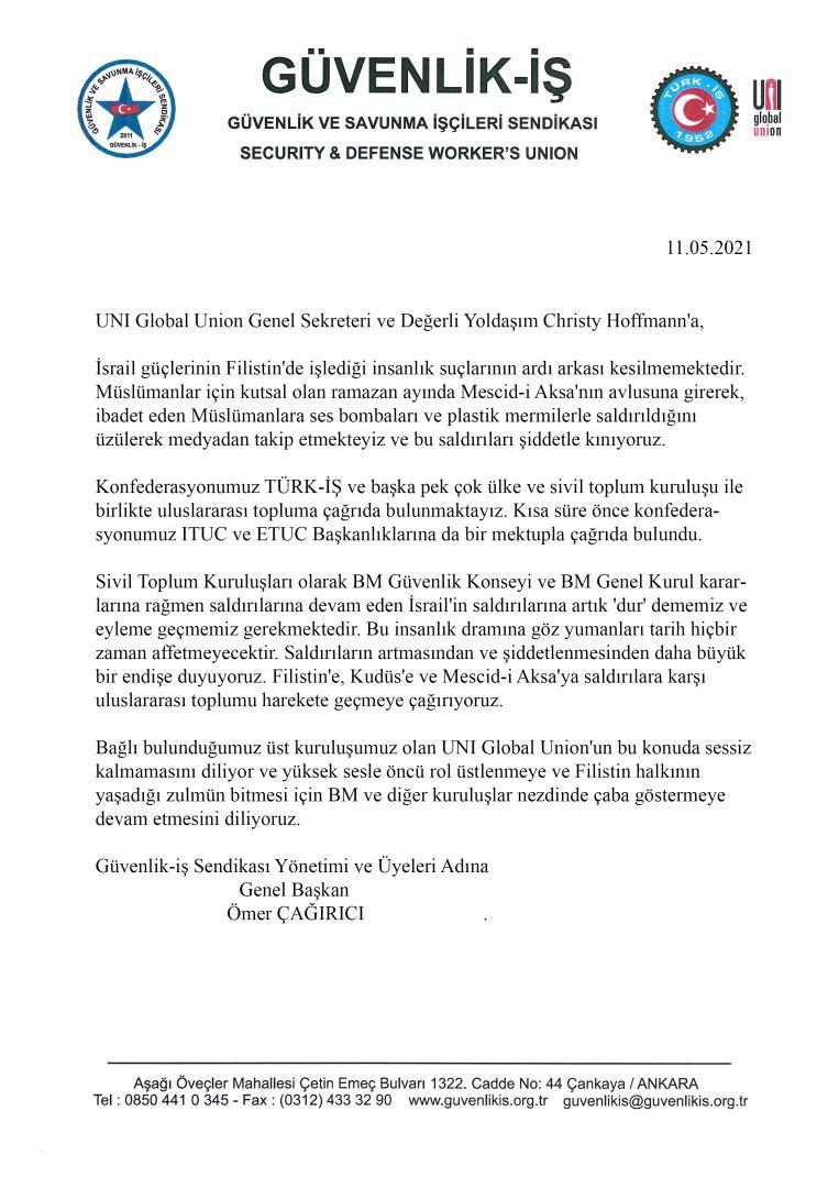 Güvenlik-İş Sendikasından, Dünya Küresel Sendikalar Birliğine Uluslararası Filistin Çağrısı