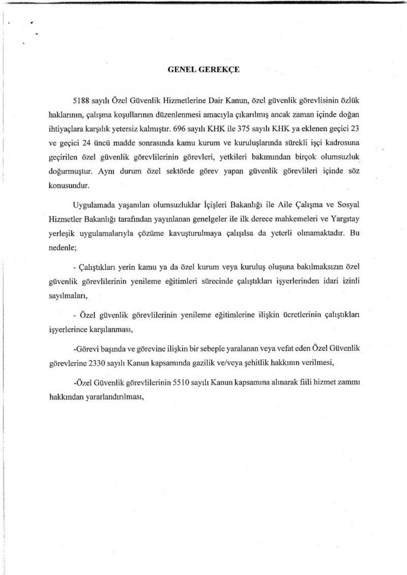 MHP'den 5188 Özel Güvenlik Hizmetleri Kanununda Değişiklik Yapılmasına İlişkin Kanun Teklifi
